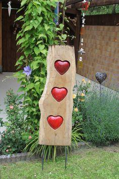 Gartendeko mit herz aus holz wooden garden decoration for Gartendeko aus birkenholz