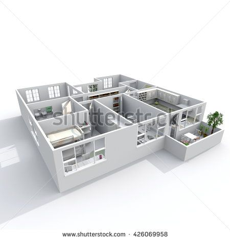 3d Interior Rendering Oblique View Of Furnished Home BalconiesKitchen Living RoomsEntrance