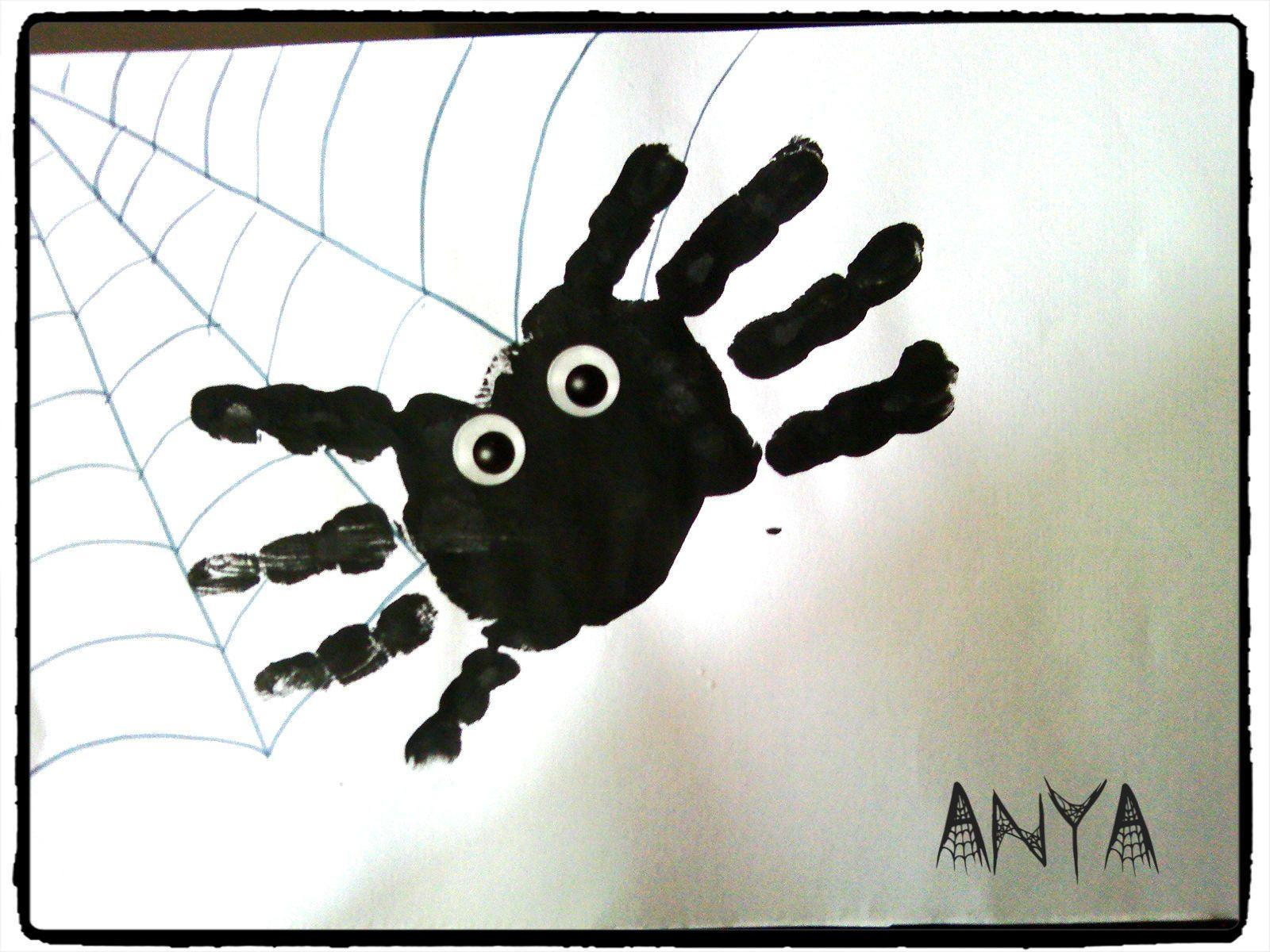 Halloween araign e empreinte de main activit enfant halloween pinterest empreintes de - Bricolage pour halloween ...