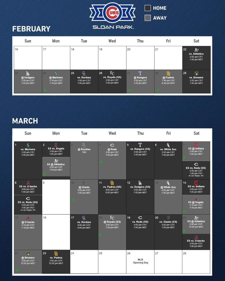 View The Schedule For Sloan Park The Spring Training Home Of The Chicago Cubs In 2020 Training Schedule Spring Training Park