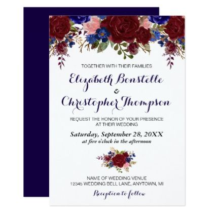 Navy and marsala floral wedding invitation wedding invitations navy and marsala floral wedding invitation wedding invitations cards custom invitation card design marriage party stopboris Gallery