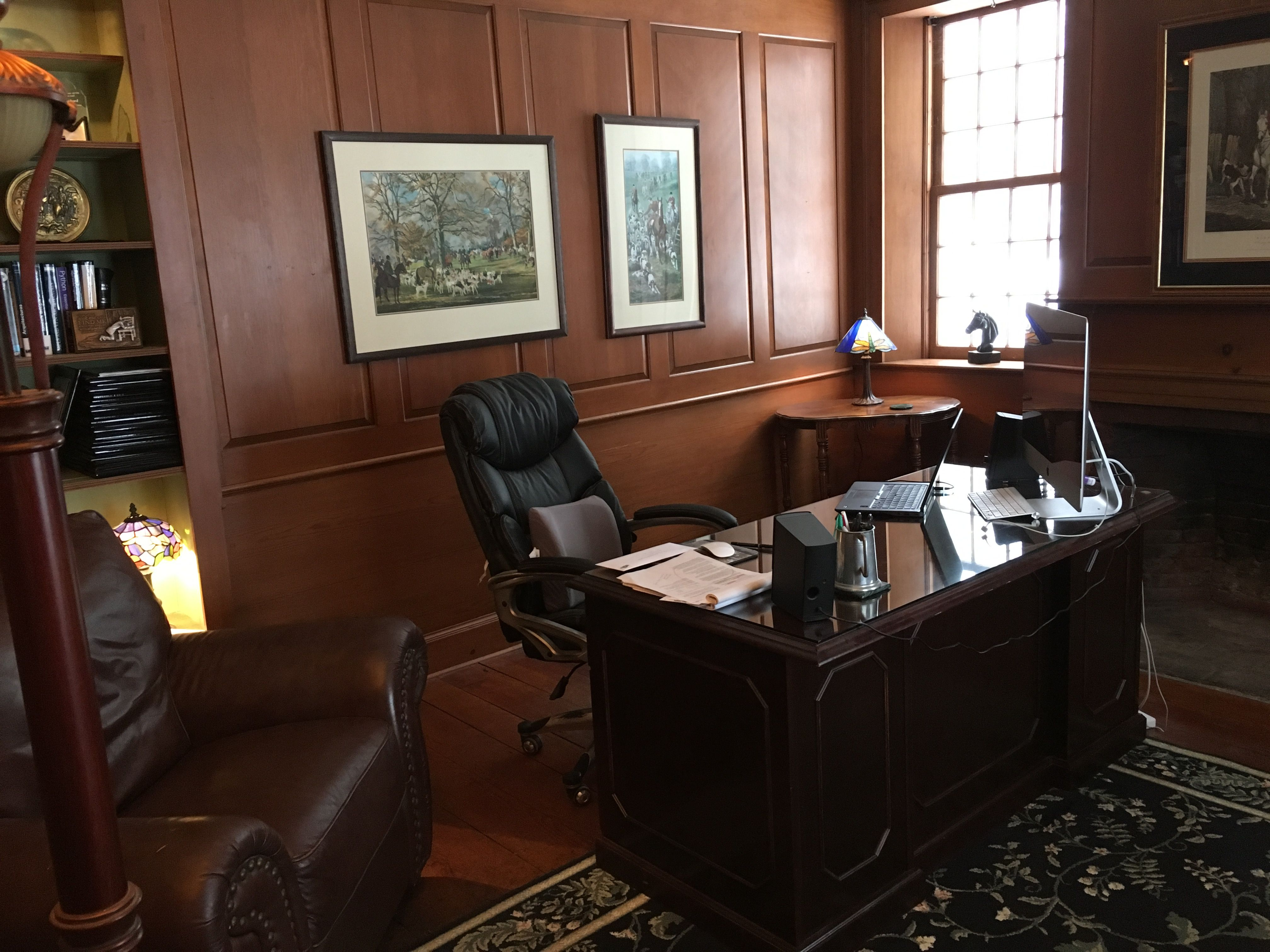 Office, study, executive desk, wood stain panel, fireplace, old ...