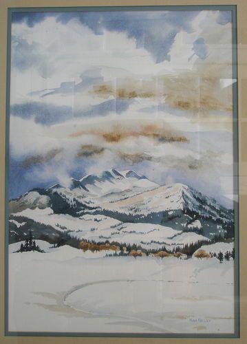 "Nina Kelley Watercolor Mammoth Mountain Snow Scene 19 1 4""H x 13""W"