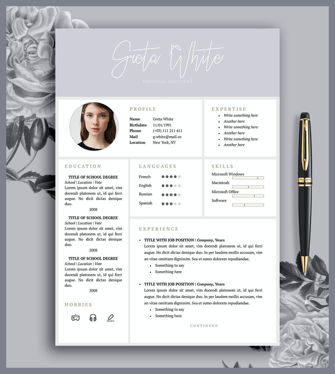 Resume Template 3 Pages Cover Letter Cv Printable Microsoft Word And Pages Digital Download Greta Resume Template Lettering Personal Resume