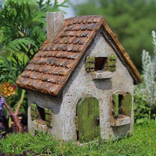 Miniature fairy garden morning glory cottage house door - Casitas en macetas ...