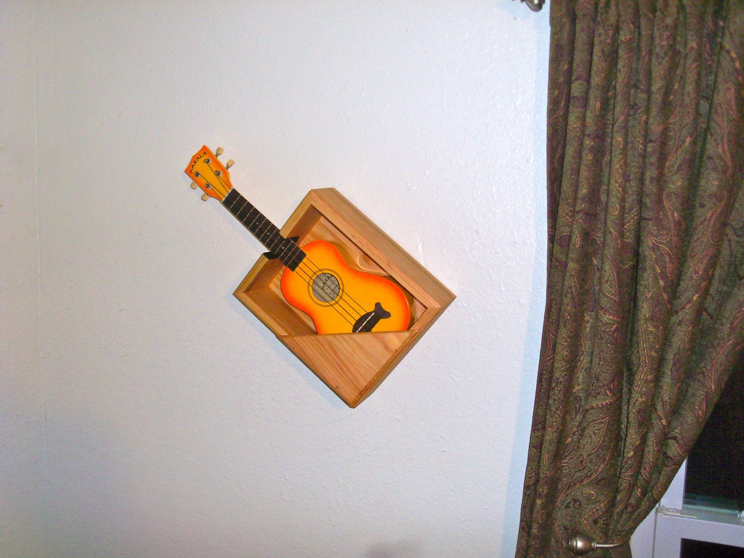 ukulele wall mount on etsy wall mounted shelves ukulele wall mount guitar wall. Black Bedroom Furniture Sets. Home Design Ideas