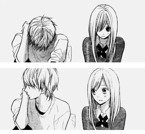 Th me 2 couples en noir et blanc manga anime - Manga couple triste ...