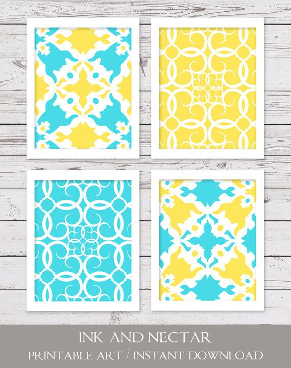 Turquoise and Yellow Art, PRINTABLE Art, INSTANT DOWNLOAD, Printable ...