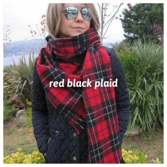 Tartan Plaid blanket scarf, red black gray plaid Flannel long blanket scarf-  women's scarves- men's scarves - gray plaid winter shawl scarf #mensscarves