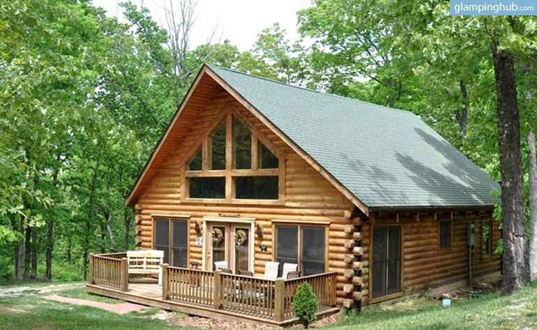 Upscale Log Cabin with Multiple Decks for a Glamping ...