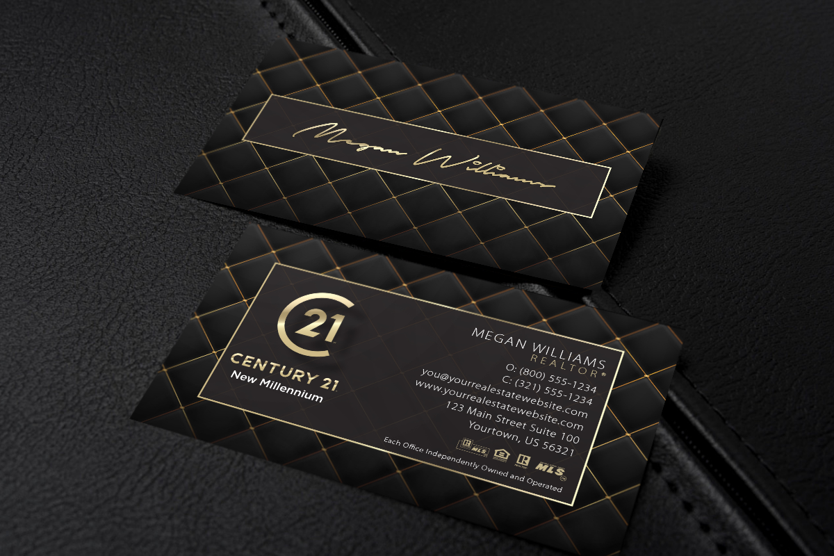 Dark Modern Classy Century 21 Business Card With Quilted Tufted Design Real Estate Business Cards Business Cards Business Card Template