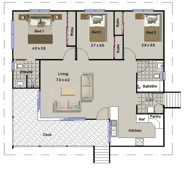 3 bed home design 3 bedroom house plans pinterest for 3 bedroom granny flat designs