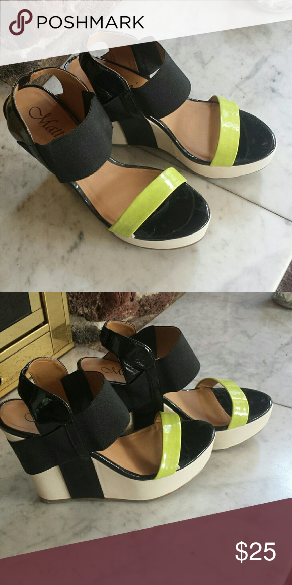 Matty's Wedges 4 inch heel; black, cream & lime green wedges Shoes Wedges