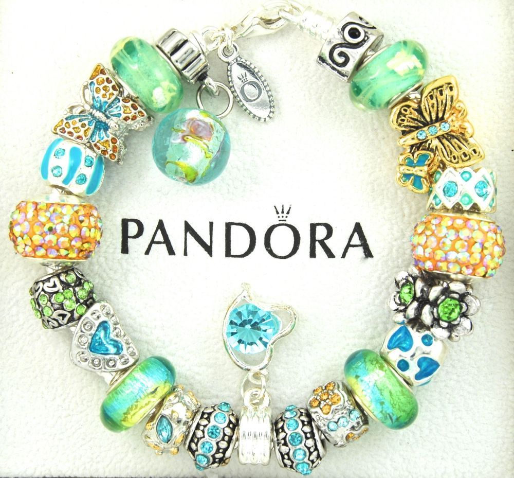 e324dd07e8540 authentic pandora silver charm bracelet with charms turquoise ...