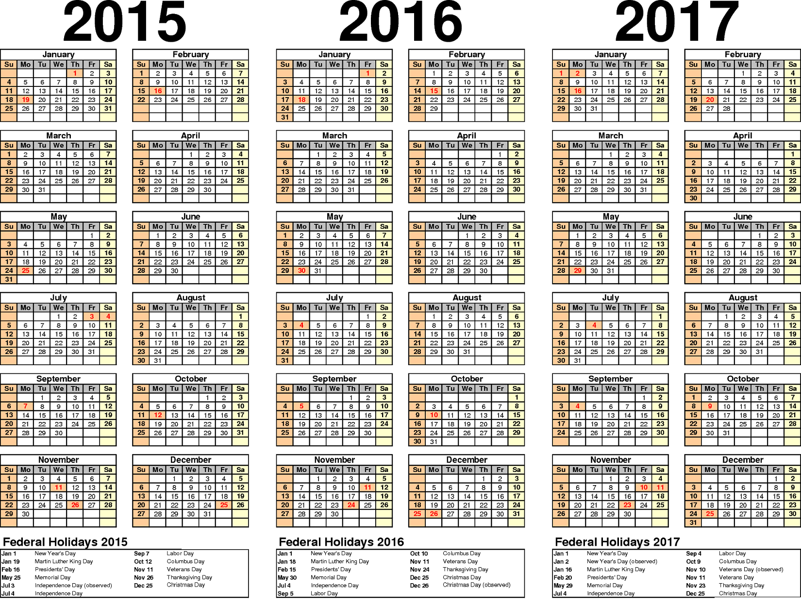 2015 2016 2017 Yearly Calendars with Holidays | Activity Shelter ...