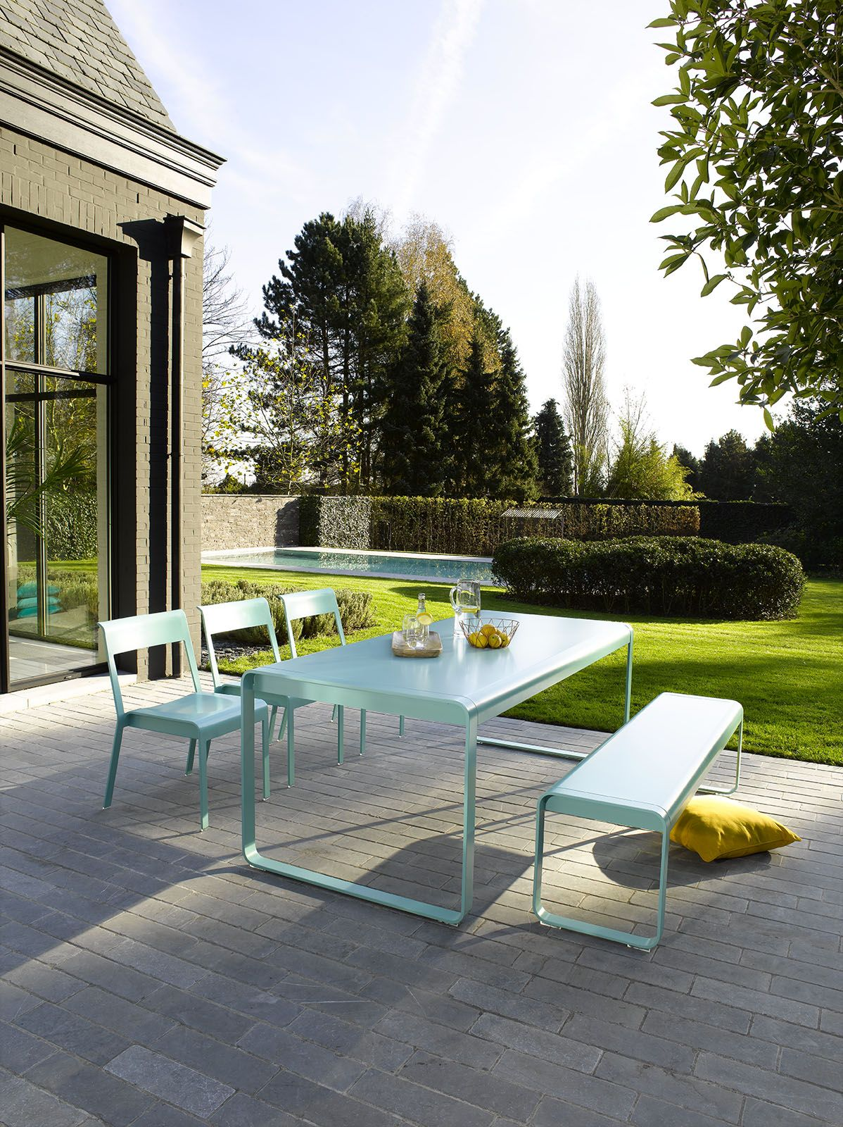 Fermob Bellevie Table Bench And Chairs In Lagoon Blue