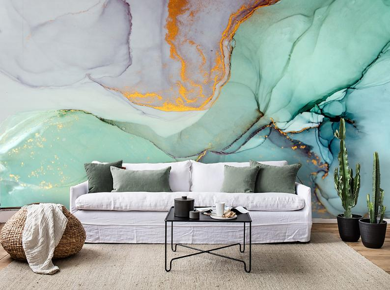 3d Watercolor Gold Foil Wallpaper Removable Self Adhesive Wallpaper Wall Mural Vintage Art Peel And Stick Salon Interior Design Interior Design Pictures Mural Wallpaper