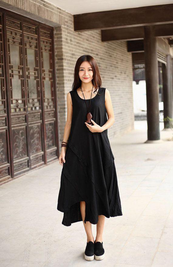 e9f8311f15 Asymmetrical Cotton dress Linen dress Casual loose Maxi dresses Sundress  Large size Summer dress Extravagant Daywear Dress Plus size dress