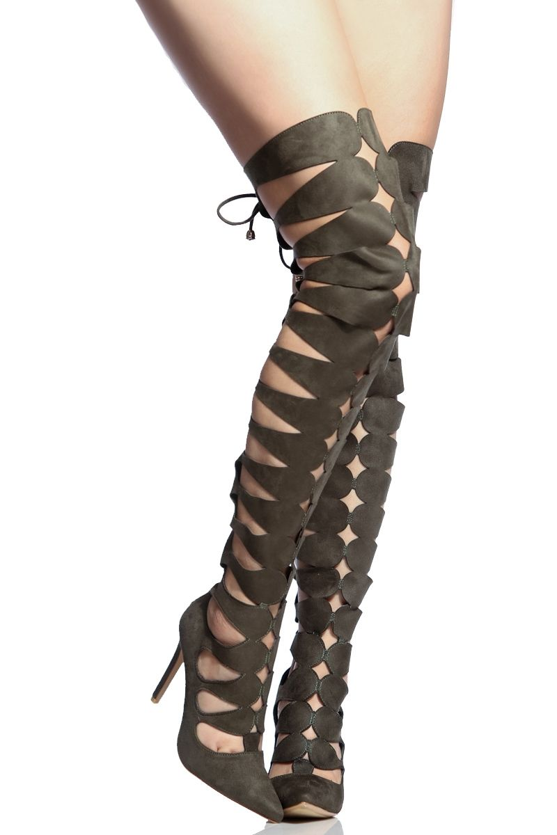 a5c7a684f3ae Olive Faux Suede Thigh High Cut Out Heels   Cicihot Heel Shoes online store  sales Stiletto Heel Shoes