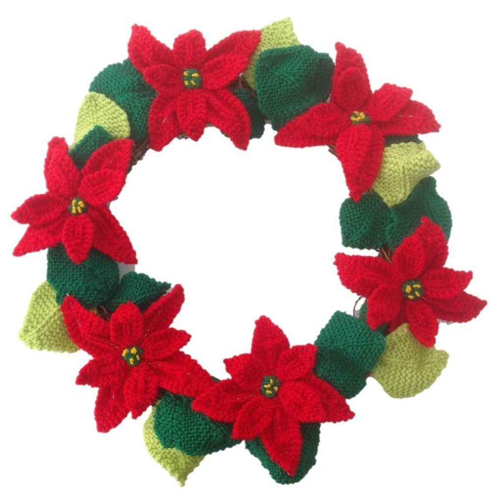 Poinsettia Christmas Wreath | Poinsettia, Knitting patterns and Wreaths