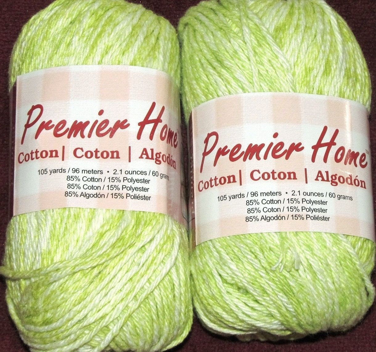 Two Balls Premier Home Medium Worsted Thread Yarn 85-15% Cotton Polyester Lot 1519, Color 44-26 Honeydew Splash Green White 105 Yd / 210 Yd by RosesPatternsEtc on Etsy