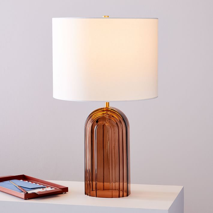 Retro Glass Table Lamp 20 5 West Elm Table Lamp Glass Table Glass Table Lamp