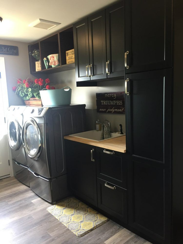 This Laundry Room Was Designed With #IKEA Kitchen Cabinets.