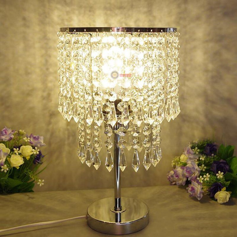 modern crystal led table lamp desk light lamp dimmer bedroom