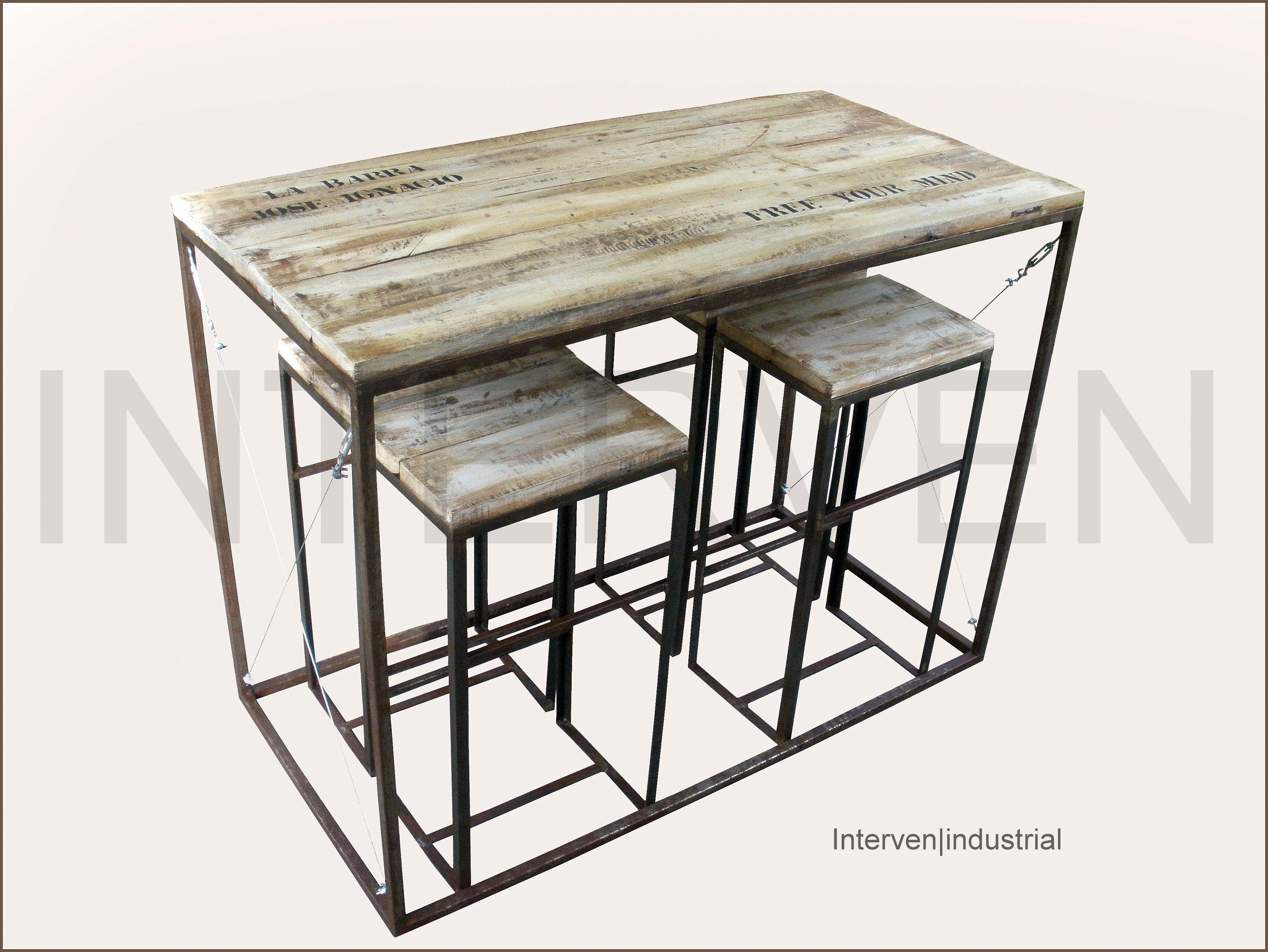 Mesa alta con taburetes Interven|industrial Hierro envejecido semi ...