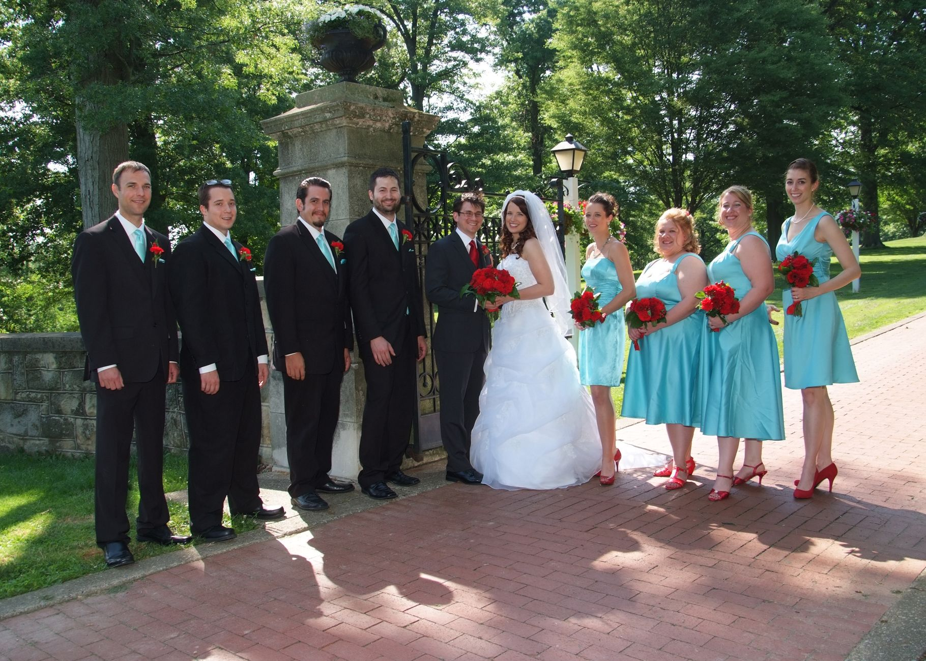 My Wedding Colors David S Bridal Pool Dresses Ties W Red Shoes For The Flowers Everyone