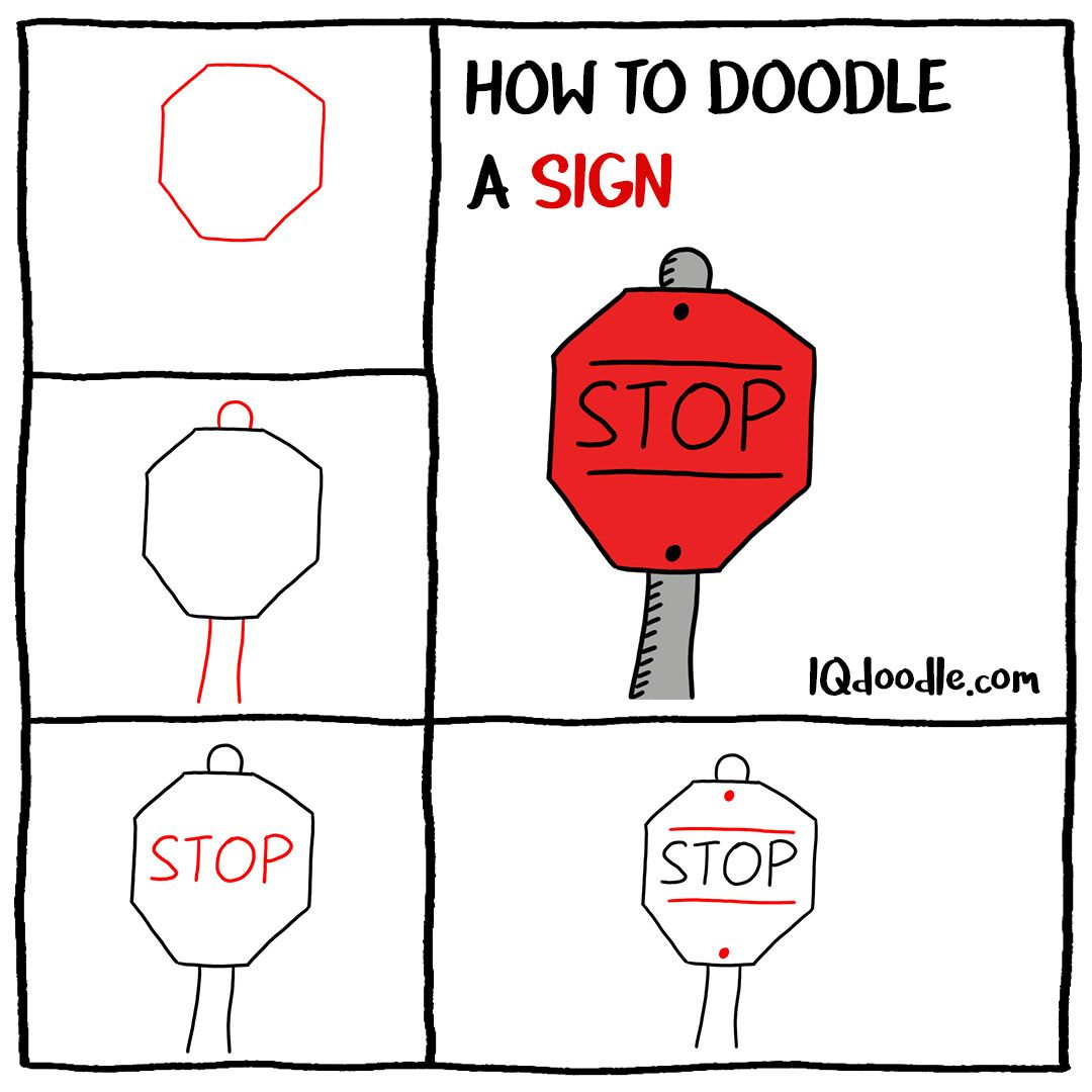 How To Doodle A Stop Sign Iq Doodle School Doodles Easy Drawings For Kids Bullet Journal Writing