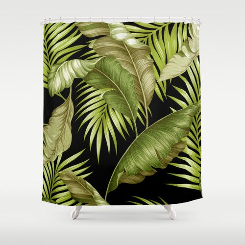 Hawaiian Garden Tropical Leaves Black Green Shower Curtain By