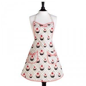 Cherry Cupakes Bib Audrey Apron by Jessie Steele