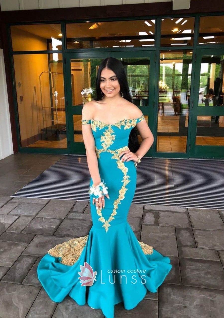 Uniquely lace appliqued turquoise offtheshoulder mermaid long prom