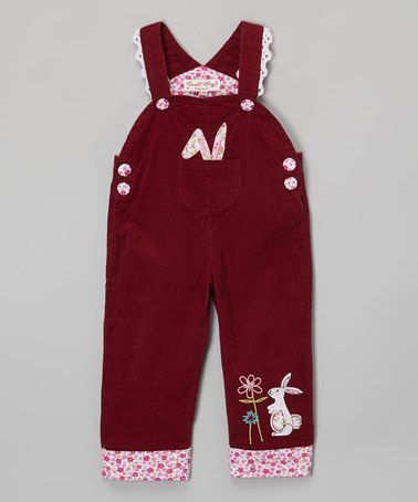 Loving this Burgundy Rabbit Corduroy Overalls - Infant, Toddler & Girls on #zulily! #zulilyfinds