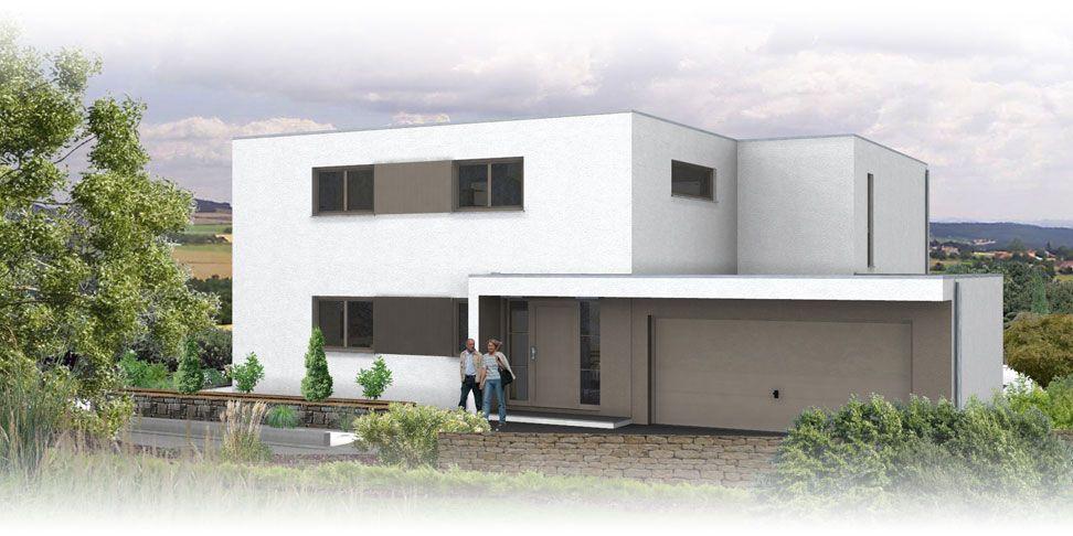Haus mit doppelgarage flachdach  Flachdach Architektenhaus Ansicht 2 | Hausbau | Pinterest ...