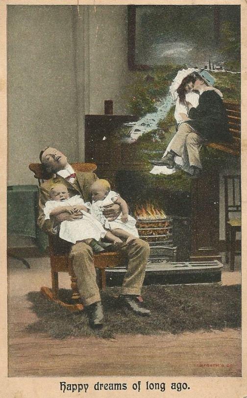 """Happy dreams of long ago"" postcard.  Postmarked ""Fairhaven, December 5 1907."