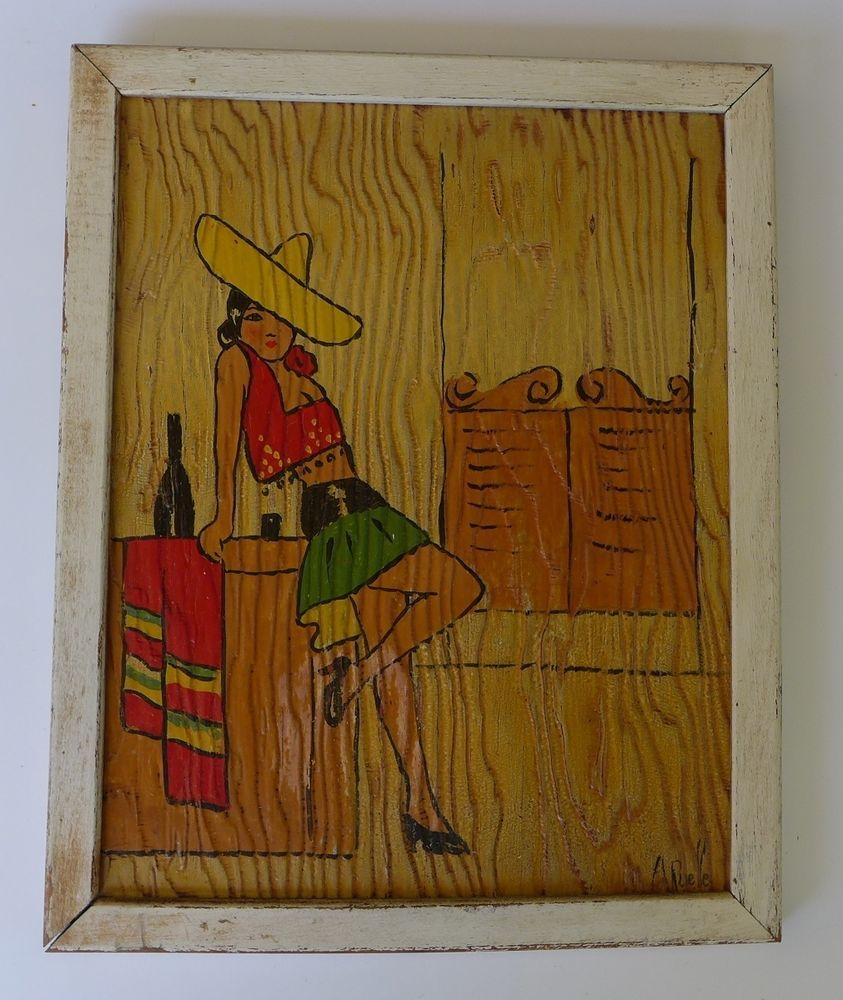 Old Vintage Early California Monterey Mexican 1940 Painted Wood  # Muebles Figural Monterrey
