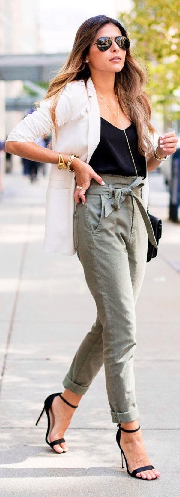 best shoes save up to 60% hot-selling genuine summer #outfits White Blazer + Black Top + Khaki Pants + ...