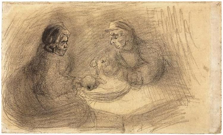 Vincent van Gogh Drawing, Black chalk on laid paper Nuenen: May, 1885 Van Gogh Museum Amsterdam, The Netherlands, Europe F: 1332v, JH: 781 Image Only - Van Gogh: Man and Woman Sharing a Meal
