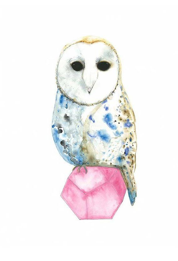 Watercolour Owl Print A3, Barn Owl Nursery Illustration 16 ...