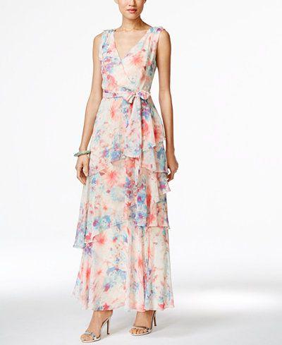 Tahari ASL Floral-Print Layered Gown