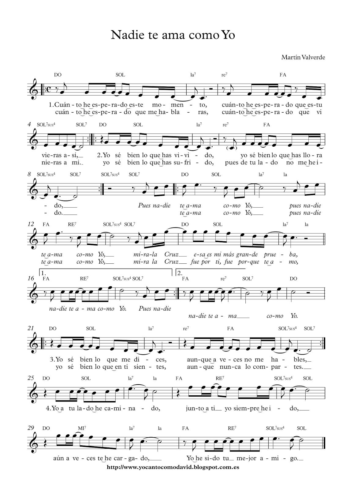 Nadie Te Ama Como Yo Yo Canto Como David Partituras Musica Partituras Teclados Musicales