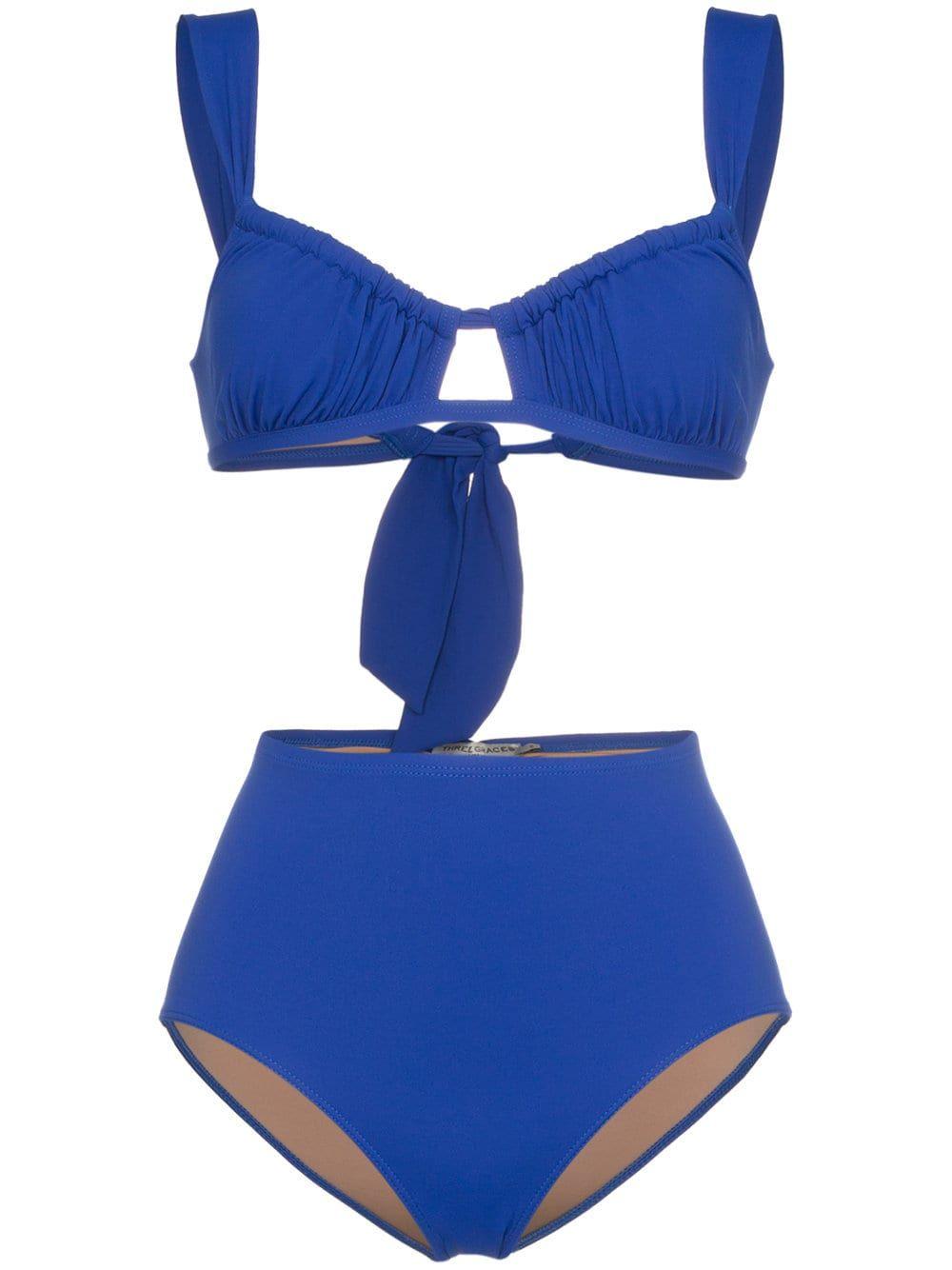 a38a6a15cdd Three Graces Bridget gathered bikini top - Blue | Sunbabing Worthy ...