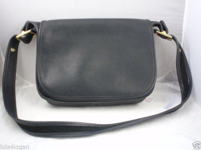 ebfd50f5903 Vtg COACH Black Leather Patricia's Legacy Flap Crossbody Messenger ...