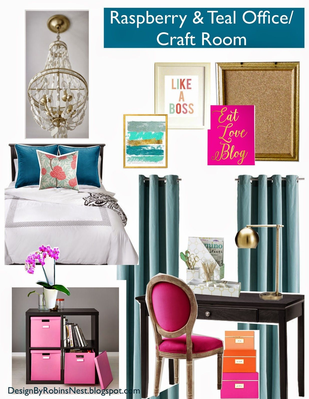 Home Office Craft Room And Guest Room Decorated In Teal Pink Fuschia Raspberry Turquoise And Gold Guest Room Design Guest Room Decor Guest Room Office