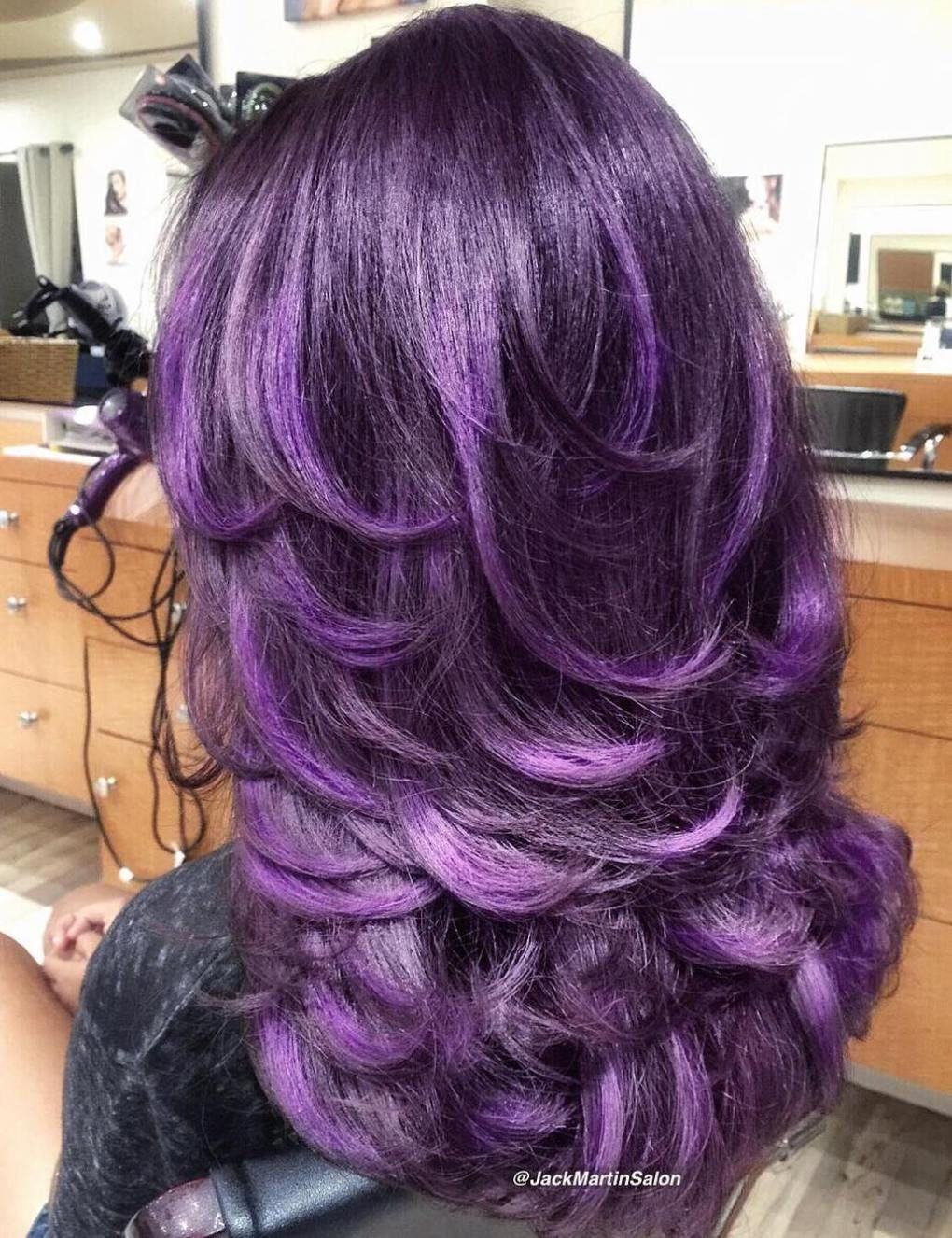 50 lovely long shag haircuts for effortless stylish looks | purple