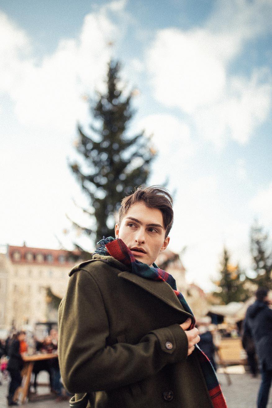Grüner Mantel im Military Look für Männer #outfitweihnachtsmarkt