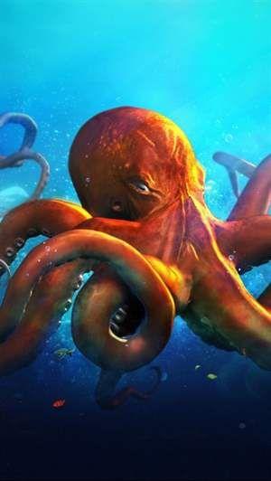 Red Octopus Wallpaper