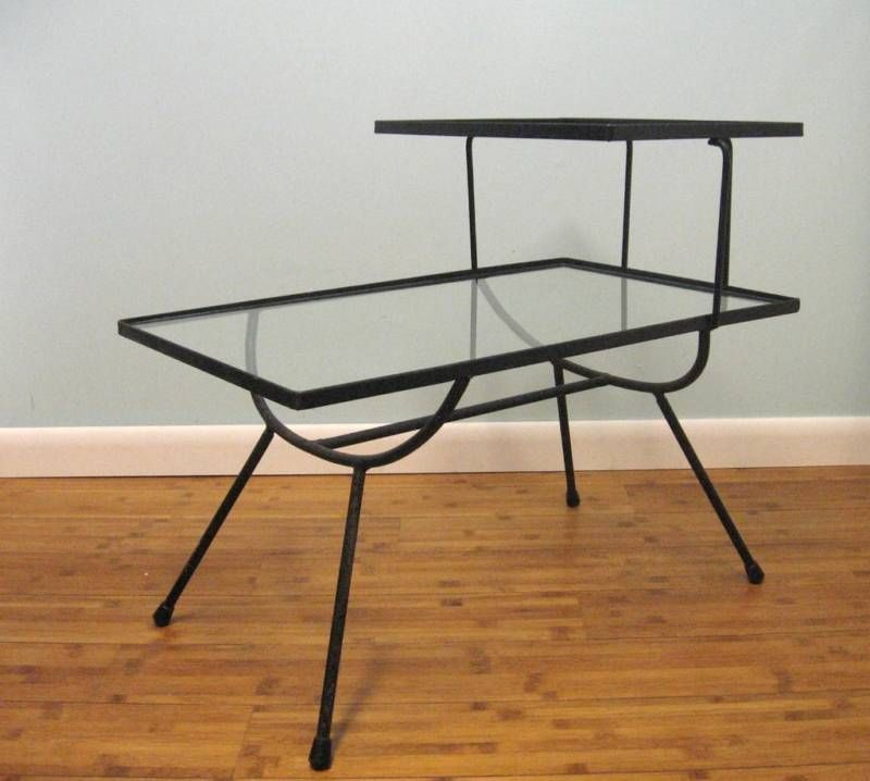 Mid Century Space Age Atomic George Nelson Arbuck Wrought Iron Glass Side  Table